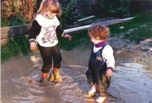 Playing in puddles 1991