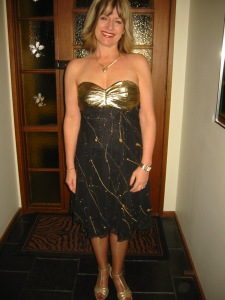 gold and black dress after