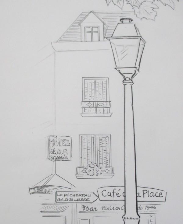 sketching   La Place de la Ville Argenton-sur-Creuse